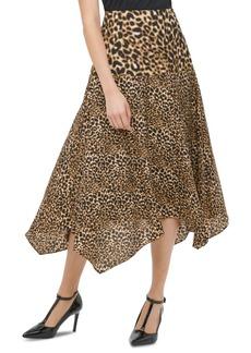 Calvin Klein Leopard-Print Handkerchief-Hem Skirt