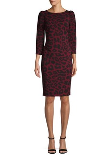 Calvin Klein Leopard-Print Puff-Shoulder Sheath Dress