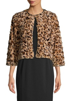 Calvin Klein Leopard Printed Faux-Fur Jacket