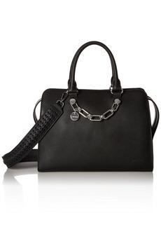 Calvin Klein womens Calvin Klein Lincoln Daytona Leather Satchel black/silver
