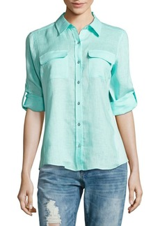 Calvin Klein Linen Roll Sleeve Blouse