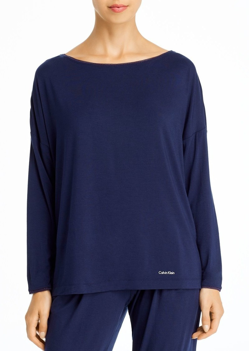 Calvin Klein Liquid Touch Lounge Long-Sleeve Wide-Neck Tee