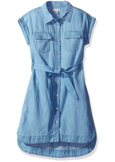 Calvin Klein Big Girls' Denim Shirtdress  X-Large ()