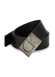 Calvin Klein Logo Plaque Leather Belt