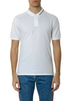Calvin Klein Logo Polo Shirt In White Cotton