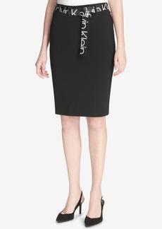 Calvin Klein Logo-Print Belt Pencil Skirt