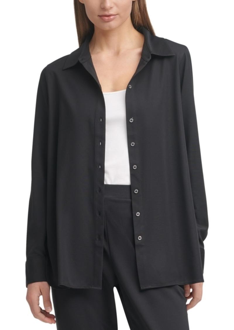 Calvin Klein Long Button-Up Knit Shirt