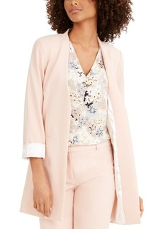 Calvin Klein Petite Long Collarless Blazer