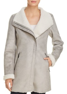 Calvin Klein Long Faux-Shearling Moto Jacket