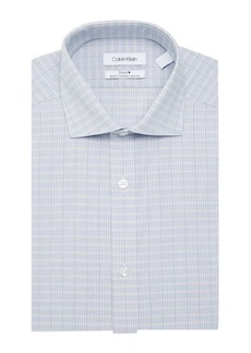 Calvin Klein Long-Sleeve Checkered Slim-Fit Dress Shirt