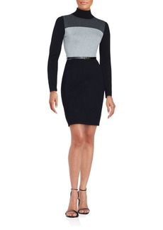Calvin Klein Long Sleeve Colorblock Sheath Dress