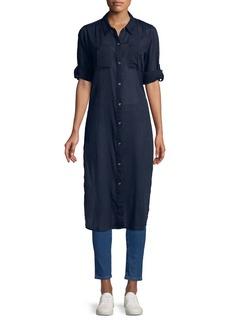 Calvin Klein Long-Sleeve Crinkled Cotton Shirtdress