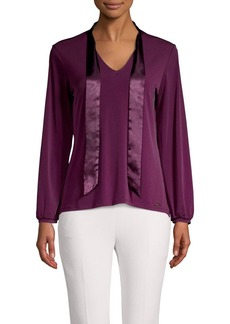 Calvin Klein Long-Sleeve Drape-Satin Top