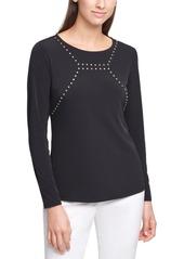 Calvin Klein Long-Sleeve Embellished Top