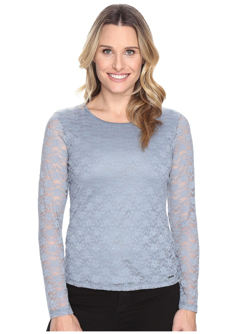 Calvin Klein Long Sleeve Floral Lace Top