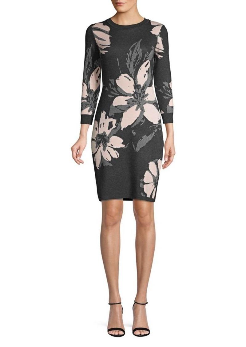 Calvin Klein Long Sleeve Floral Sweater Dress