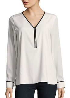 Calvin Klein Long Sleeve Half-Zip Blouse