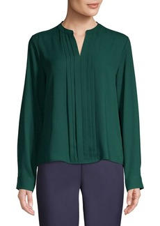 Calvin Klein Long-Sleeve Pleated Blouse