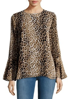 Long-Sleeve Printed Blouse