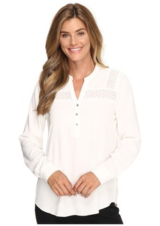 Calvin Klein Long Sleeve Top w/ Lace Yoke