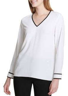 Calvin Klein Long Sleeve V-Neck Blouse