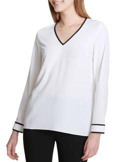 Calvin Klein Long Sleeve V-Neck Blouse