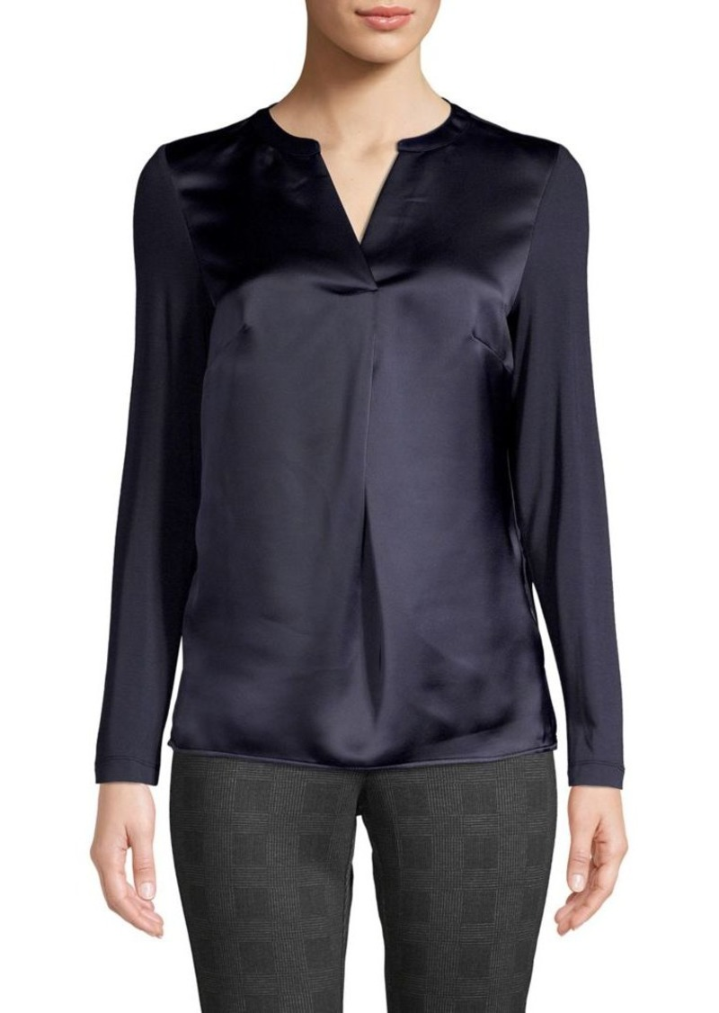 Calvin Klein Long Sleeves Split Neck Top