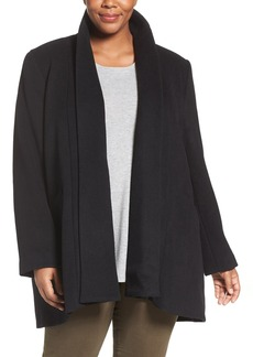 Calvin Klein Lux Basketweave Flyaway Coat (Plus Size)