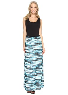 Calvin Klein Maxi Dress w/ Printed Chiffon