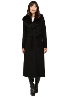 Calvin Klein Maxi Wool Belted with Faux Fur Collar