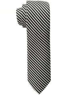 Calvin Klein Men's  & White Mini Bar Stripe Slim Tie black
