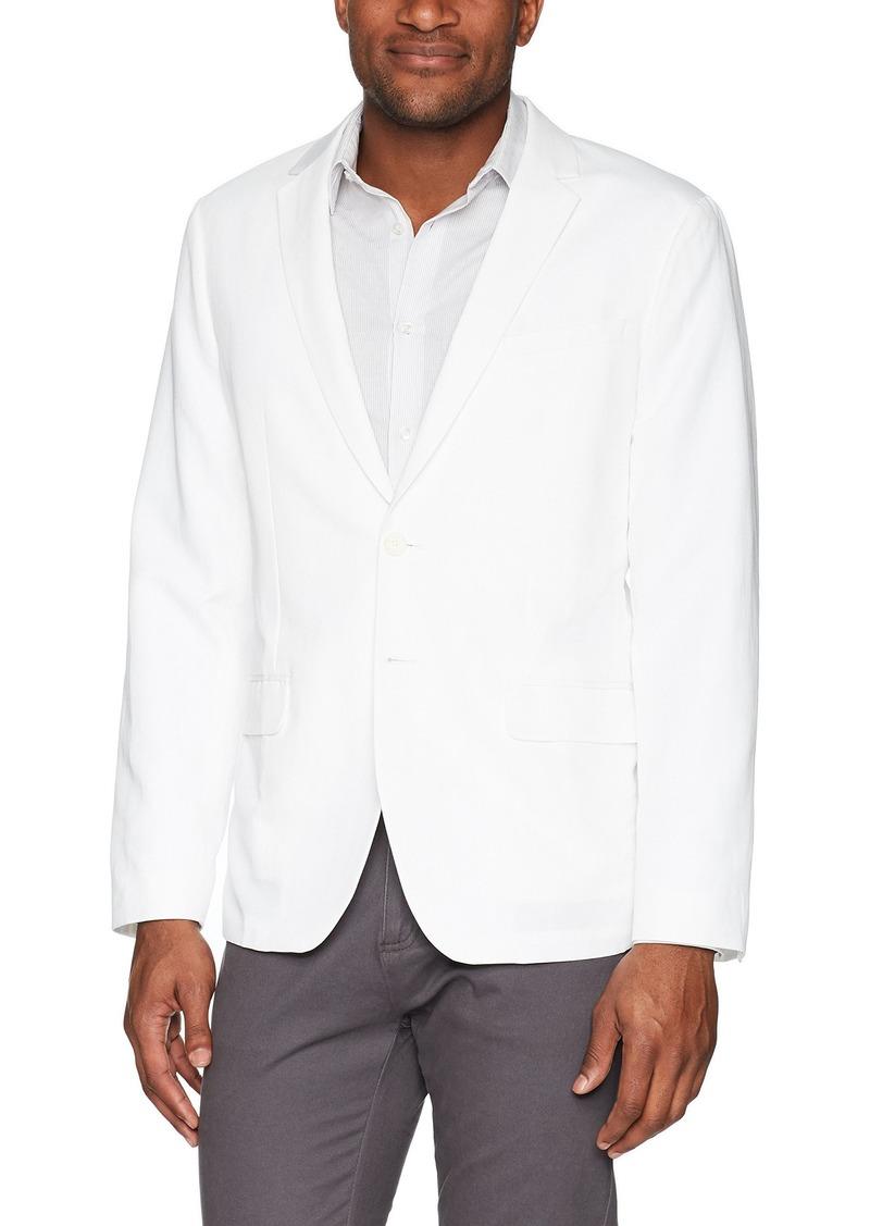 Calvin Klein Men's 2 Button Linen Blazer portscoat tandard White