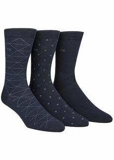 Calvin Klein Men's 3 Pack Fashion Geometric  Sock Size: 10-13/Shoe Size:9-11
