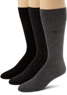 Calvin Klein Men's 3 Pack Fashion Geometric Socks  Sock Size: 10-13/Shoe Size:9-11