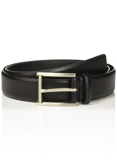 Calvin Klein Men's 35mm Feather Edge Strap Textured Leather Belt black Brushed Nickel