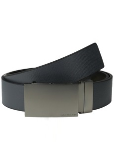 Calvin Klein Men's 38MM Reversible Emossed to Smooth Leather Belt with Plaque Buckle