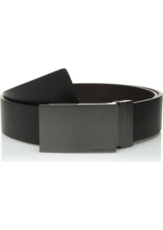 Calvin Klein Men's 38MM Reversible Emossed to Smooth Leather Belt with Plaque Buckle Black/Brown