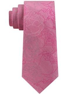 Calvin Klein Men's Abstract Linear Floral Slim Silk Tie