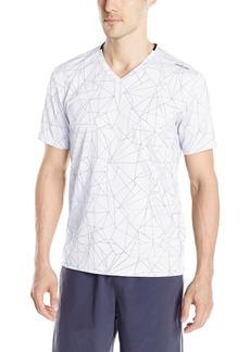 Calvin Klein Men's Short Sleeve V-Neck Graphic T-Shirts White mesh Print