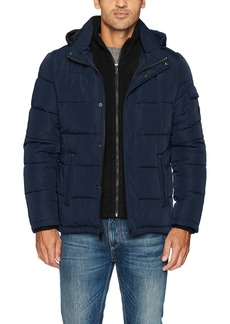 Calvin Klein Men's Alternative Down Puffer Jacket With Bib & Hood rich indigo
