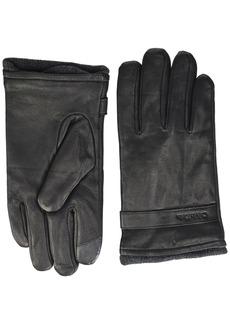 Calvin Klein Men's Basic Knit Insert Leather Gloves with Logo Belt