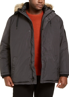Calvin Klein Men's Big & Tall Alternative Down Parka Jacket with Faux Fur Hood