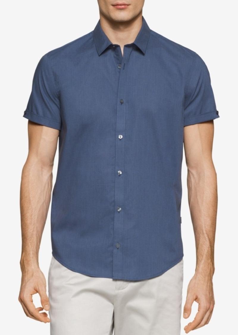 Calvin Klein Men's Big & Tall Dobby Dot Short-Sleeve Shirt