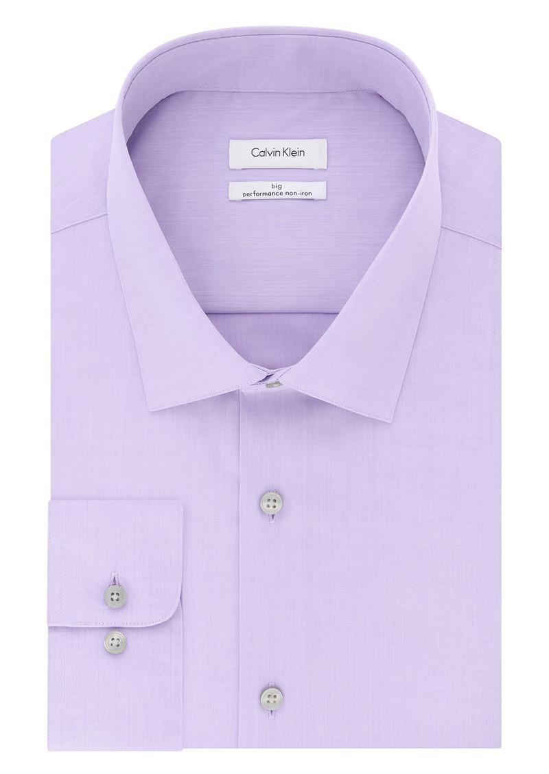 Calvin Klein Men's Big and Tall Dress Shirts Non Iron Herringbone Solid