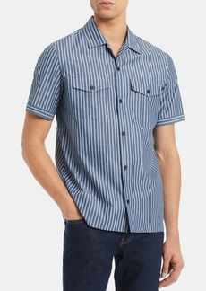 Calvin Klein Men's Boyscout Classic-Fit Stripe Camp Shirt