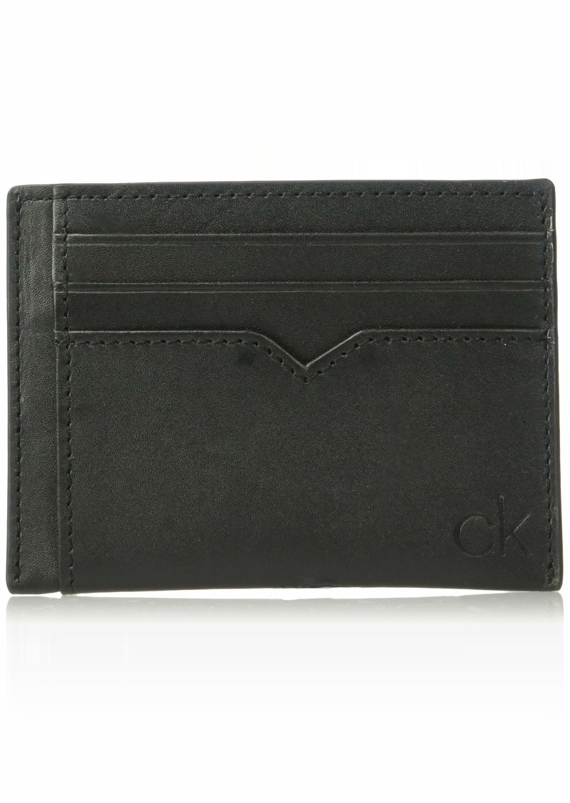 Calvin Klein Men's Burnished Leather Card Case black