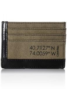 Calvin Klein Men's Calvin Klein Card Holder Wallet Canvas and Smooth Leather black