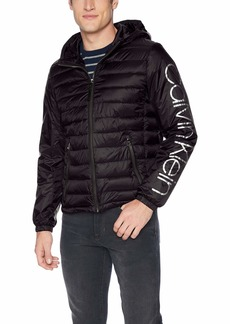 Calvin Klein Men's Calvin Klein Logo Wind Breaker Jacket Outerwear -black Extra Large