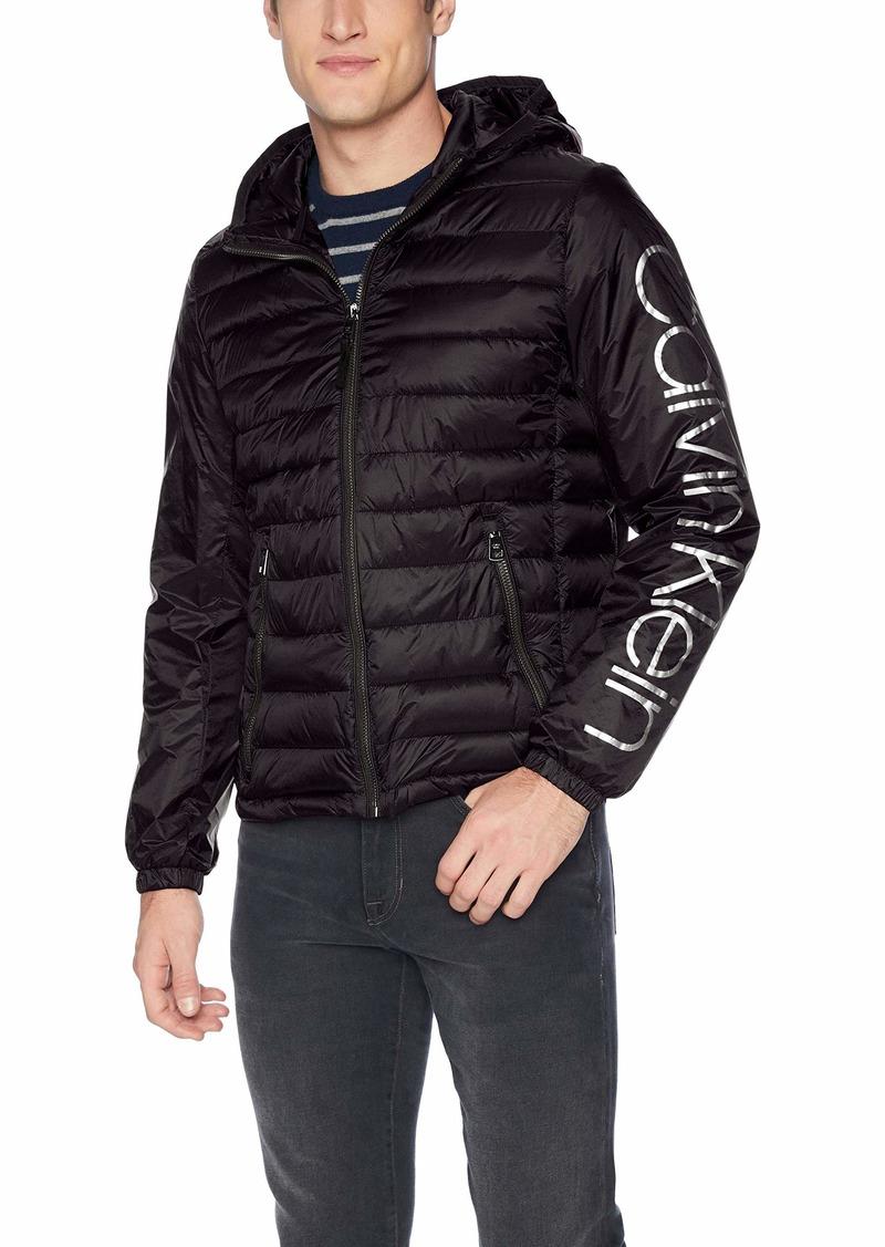 Calvin Klein Men's Calvin Klein Logo Wind Breaker Jacket Outerwear -black Extra Large