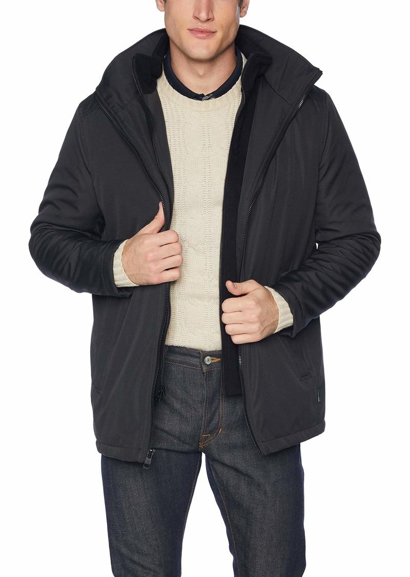 Calvin Klein Men's Calvin Klein Rip Stop Hooded Jacket With Inner Fleece Bib Outerwear -alloy grey